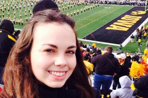 Picture of Dr. Breanna Scorza at a University of Iowa Football Game